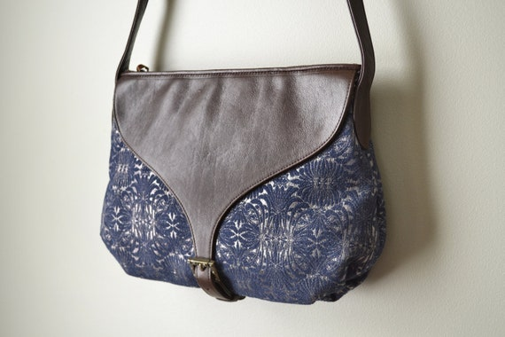SALE!! Leather and Tapestry Shoulder Bag, Blue and Silver Brocade Fabric Handbag, Brown Coffee Leather Saddle Bag Handmade in NYC