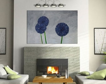 "CLEARANCE 75% OFF-Large 3ft x 2ft original artwork ""Allium"" abstract art, floral art, modern painting"