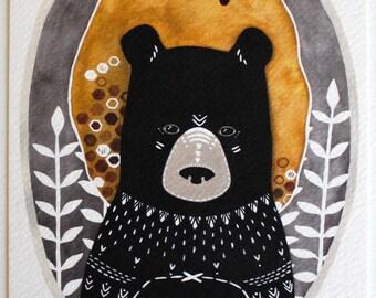 Bear Illustration Art, art for kids room, art for boys, art print, archival print - Rafi the Honey Bear