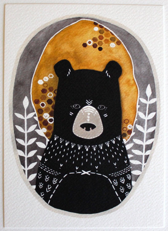 Bear Illustration Art Art For Kids Room Art For Boys By