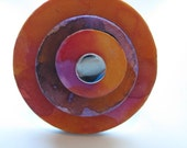 Colorful ring on beautiful STAINLESS STEEL base, in orange and purple, Model Joy 7