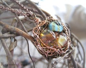 Summer Day Glass Fairy Egg Nest Necklace (n007)