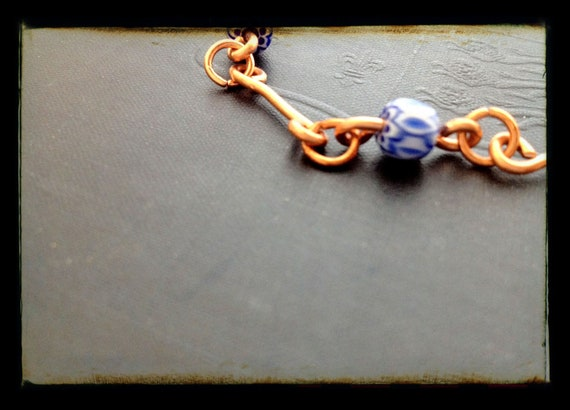 Recycled and Upcycled Beaded Copper and Blue Glass Bracelet - Opposite colors, simply elegant,