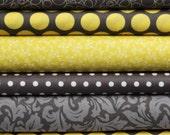 Yellow & Gray Bundle of Six Half Yards