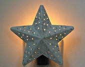 Vintage Chart Star Night Light with Punch Holes