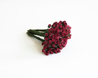 25 pcs - Berry Mulberry Paper Micro Rose buds