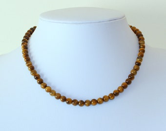 6mm Tiger Eye Necklace - VARIOUS Length Options.  Brown Tiger Eye / Tiger's Eye Stone. Therapeutic. MapenziGems