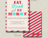 Eat Drink and Be Merry - Holiday Party Invite Card Design