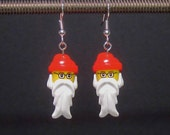 Santa Claus earrings with glasses, silver plated ear wires
