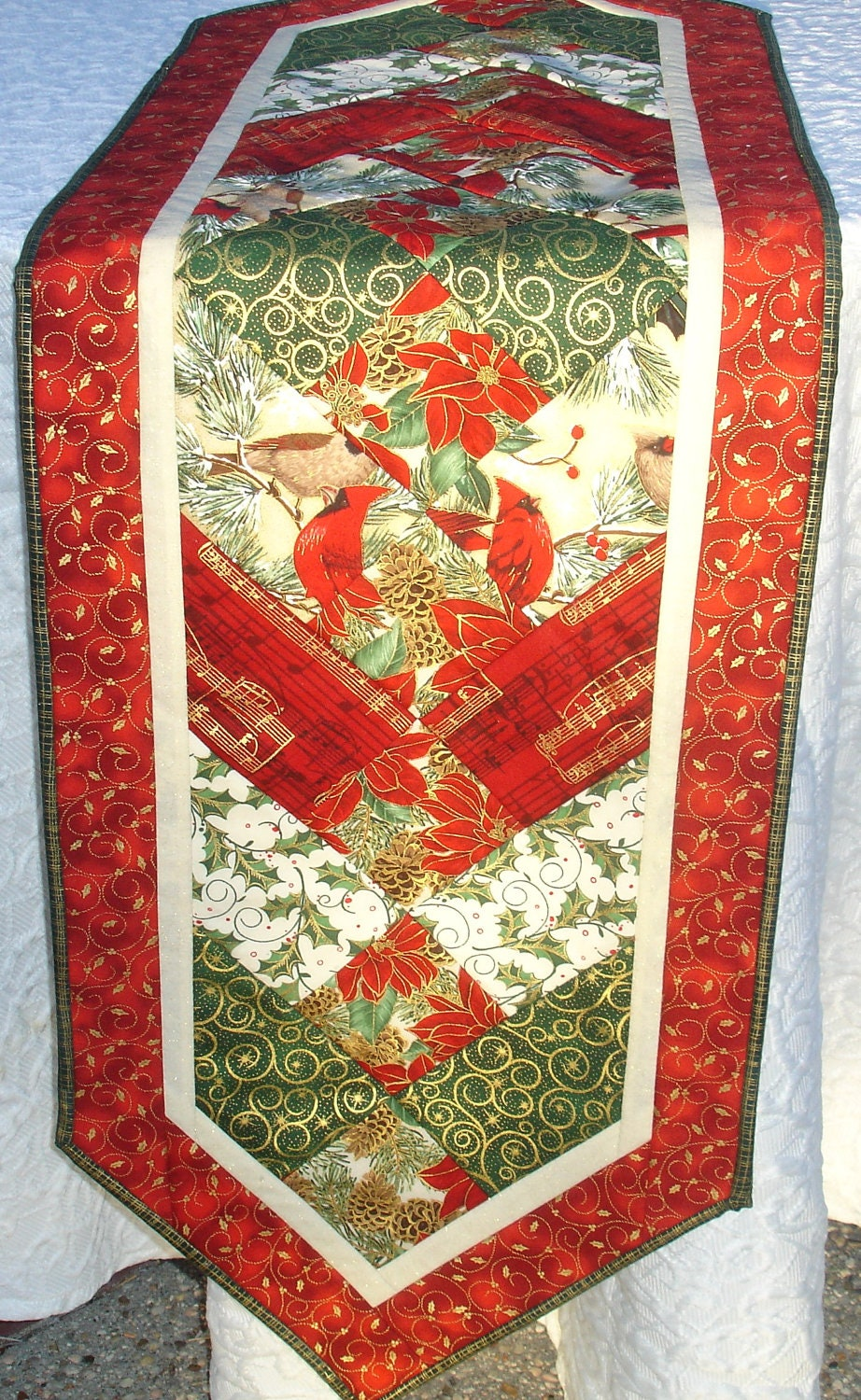 Christmas Table Runner Quilt Centerpiece Table Topper Red