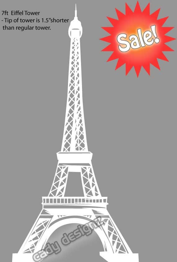 Eiffel tower vinyl wall decal clearance paris home decor for Eiffel tower decorations for the home