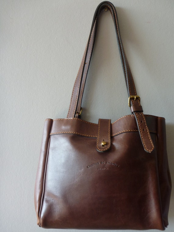 Chocolate Brown leather Charles et Charlus FRANCE shoulder bag
