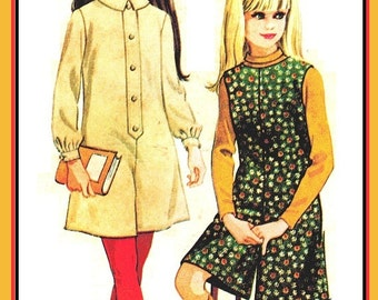McCall's 8866 Vintage 60s Girls Fab Pant Dress or Pant Jumper - Culottes - Sewing Pattern Size 12 Bust 30
