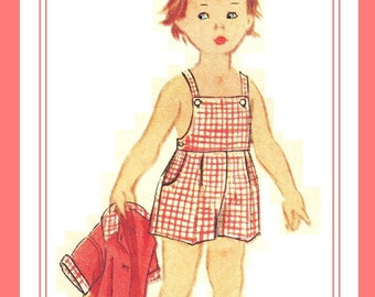 "Simplicity 2357 UNCUT Vintage 50s Cute Toddler ""Brother and Sister"" Twins Shirt, Overalls / Playsuit Sewing Pattern Size 2"