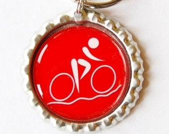 Cycling keychain, Cycling, Cycling keyring, Bicycle, keychain, keyring, red, bottlecap key chain (1705)
