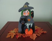 Witch-- Halloween--  caldron-- 3-D-- bat-- crow--shelf sitter