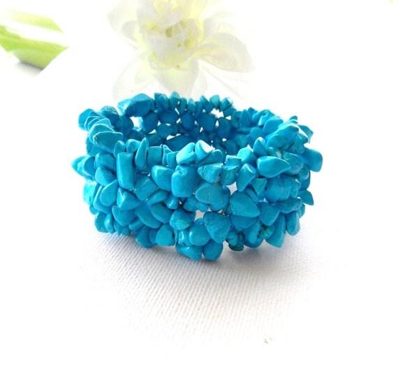 Turquoise Blue Bracelet -Turquoise Stone Chips Bracelet Bangle - Handmade Fashion Jewellery