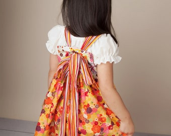 Mariposa Girls Dress - First Day of School - Dress - Knot Dress Pattern - Bow Dress - Custom  Made Dress - Limited Supply - 2T  and 6 only