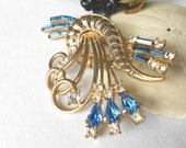 Louis Stern art deco brooch vintage pendant necklace signed Lustern, rhinestone brooch
