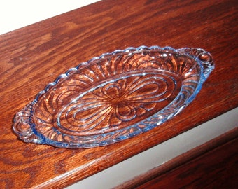 """10 3/8"""" TRAY CAMBRIDGE CAPRICE Moonlight Blue Pickle Dish Celery Tray Crystal Depression Glass Oval Long Handled Excellent Condition"""