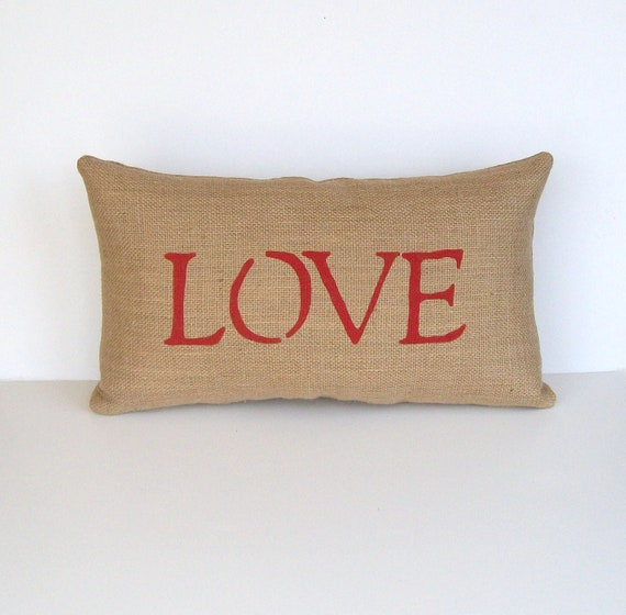 decorative pillow, burlap red LOVE pillow, home decor, bride and groom, wedding, anniversary gift by whimsysweetwhimsy