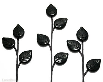 Black Czech Glass Leaf Beads 17mm (16) Opaque Jet Pressed Leaves Tree Branch last