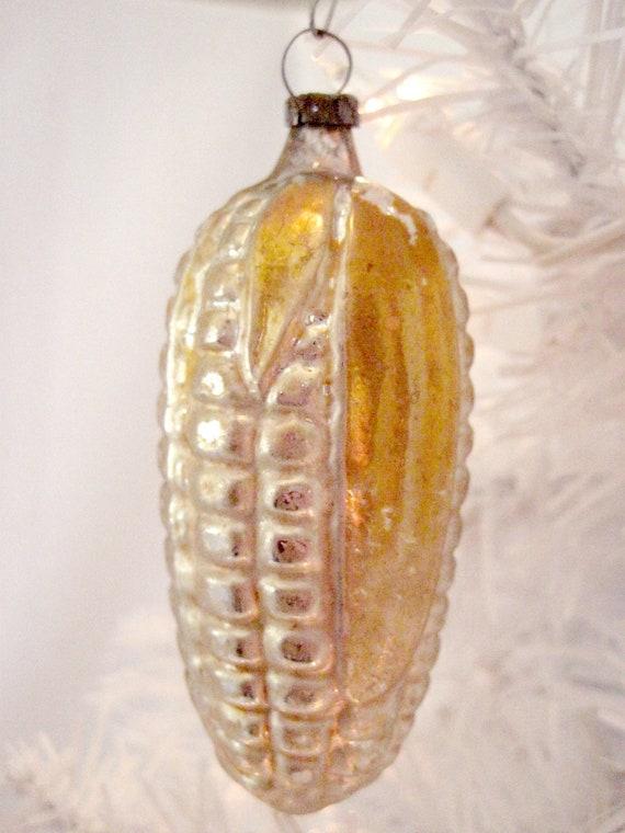 Vintage Glass Corn Figural Christmas Holiday Tree Ornament