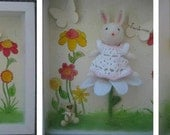 Needle felted bunny,Shadow box ,nursery art,felt wall art,Felted bunny-needle felted animal,nursery room decoration,children wall decor