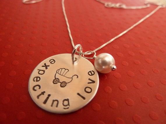 Expecting Love Hand Stamped Baby Carriage Pregnancy Necklace Crystal Pearl