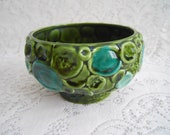 Mad Men Majolica  Pottery Bowl.  Circle Patterned Pedestal Bowl.