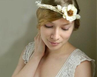 SALE Natural Grass Rustic Hair Piece 'Klara' - Woodland Weddings - OOAK