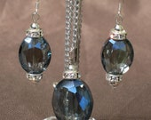 Pendant - Blue crystal necklace set - Blue crystal earrings - Blue crystal pendant - Cut Crystal set-Beaded jewelry