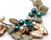 Teal Brown Garden Necklace, Teal Flower Necklace, Woodland Necklace,  Nature Jewelry