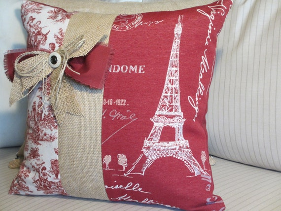 Eiffel Tower Pillow Cover French Country Pillow Red Paris