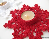 Christmas CROCHET PATTERN Tea Light Holder, Candle Holder Melting Snowflake, DIY Christmas Crochet Craft Instant Download Pdf Pattern No.60