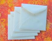 25 Small Mini Square Envelopes White