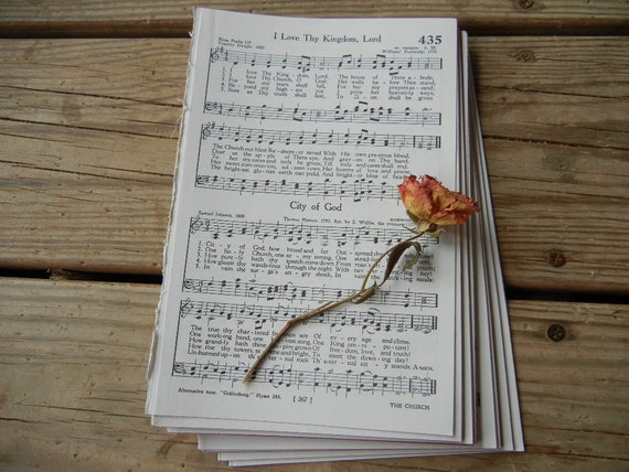 Sheet Music Bundle - 20 Pages 1960's Christian Hymns- Vintage Paper Craft