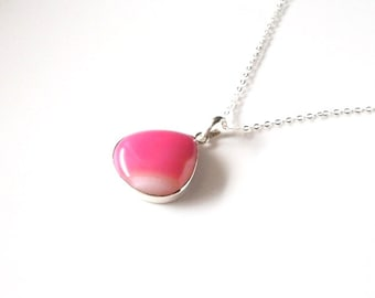 Pink Botswana Agate Sterling Silver Necklace- Pink Flambe'/gifts under 40/teardrop pendant/OOAK/Woman's Jewelry
