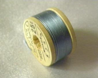 Vintage Corticelli Brand Pure Silk Buttonhole Silk Twist Thread Size D 10 Yd Wooden Spool Shade 6343 Blue