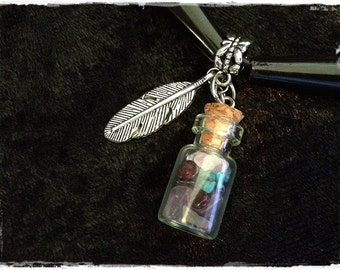 Bottled Warrior Genuine Protection Stones Crystals 24 inch Leather Necklace REDUCED PRICE