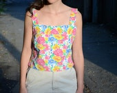 Upcycled Tank Top / Cotton Floral Crop Top / Wide Straps / 90s Flowers Crop Top / Short Tank Top / Colorful Top