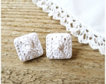 Studs square Earrings, Knitting texture Polymer clay
