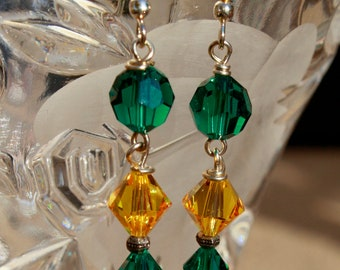 Green and Gold Crystal Earrings