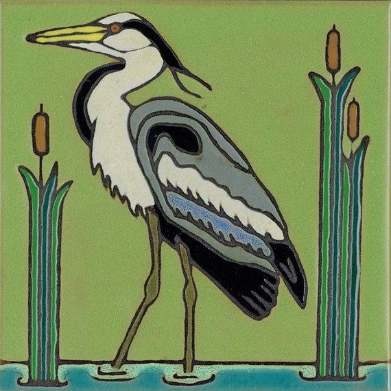 Heron, bird, Audobon,hotplate, wall decor, kitchen backsplash, bathroom installation, mural, hand painted,mosaic, Hand crafted in USA