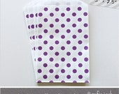 Purple - Polka Dot - Medium Favor Bags - 10