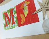 "Mermaid illustration for girl's room - Nursery art print - M is for Mermaid - 11"" x 17"""