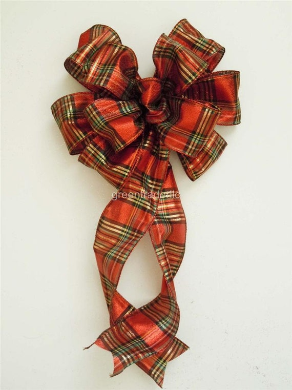 Scottish Tartan Christmas Wreath Bow Red Gold Plaid Christmas Door Swag Bow Red Black Gold Christmas Plaid Garland Bow Winter Gift Wraps Bow