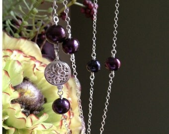 Purple pearl and sterling silver wire wrapped tin cup necklace - Pancreatic Cancer Awareness