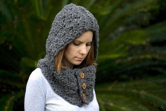 Free Crochet Hooded Cowl Pattern With Button Pakbit For