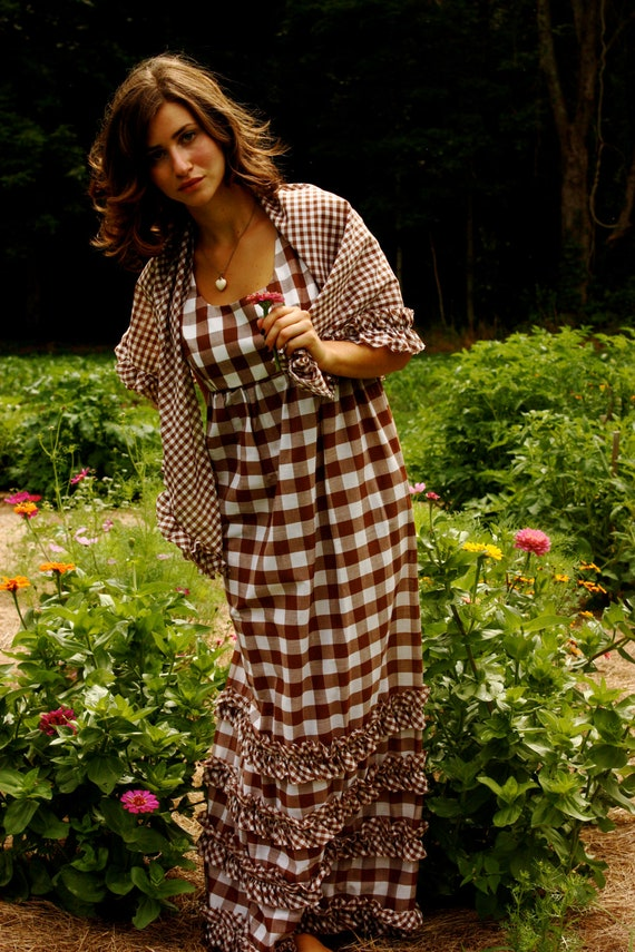 Vintage Garden Party Brown Gingham Empire Waist Dress With Shawl